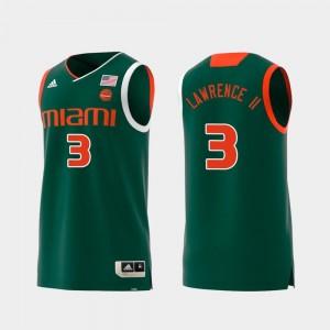 #3 Swingman College Basketball Anthony Lawrence II Miami Hurricanes Jersey Men's Green Replica