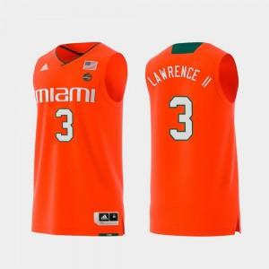 Swingman College Basketball Orange #3 Replica Anthony Lawrence II Miami Hurricanes Jersey For Men
