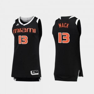 College Basketball #13 Anthony Mack Miami Hurricanes Jersey Black White Chase For Men's