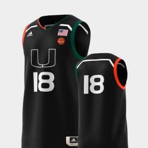 College Adidas Replica Miami Jersey Black #18 Mens Basketball Swingman