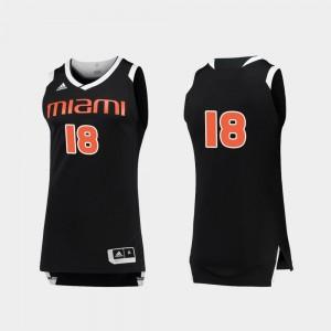 Miami Hurricanes Jersey Black White Chase #18 College Basketball Men