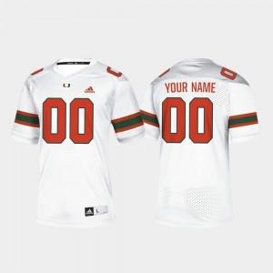 Mens White College Football #00 Miami Customized Jerseys