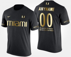 Gold Limited Miami Hurricanes Customized T-Shirt For Men #00 Short Sleeve With Message Black