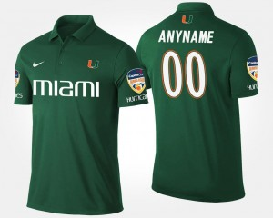 Bowl Game Mens Hurricanes Customized Polo #00 Orange Bowl Name and Number Green