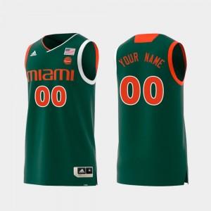 University of Miami Customized Jerseys #00 For Men's Green Swingman College Basketball Replica