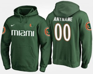 University of Miami Customized Hoodies #00 Green For Men Name and Number