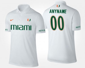 #00 Name and Number University of Miami Customized Polo Mens White