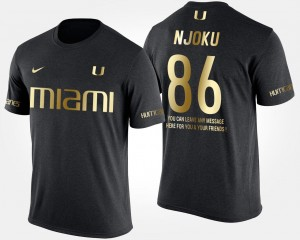 Men's Gold Limited Short Sleeve With Message #86 Black David Njoku Hurricanes T-Shirt