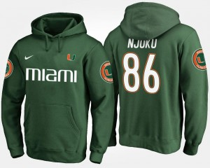 Men David Njoku University of Miami Hoodie Green #86 Name and Number