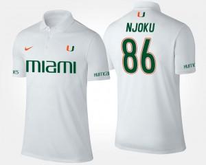 Men #86 David Njoku Miami Polo White Name and Number