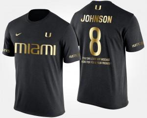 Black Duke Johnson Miami Hurricanes T-Shirt Short Sleeve With Message Gold Limited #8 Men