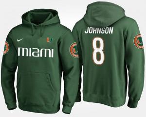 #8 Duke Johnson Hurricanes Hoodie Green Name and Number For Men