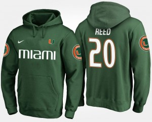 #20 Men's Ed Reed University of Miami Hoodie Name and Number Green