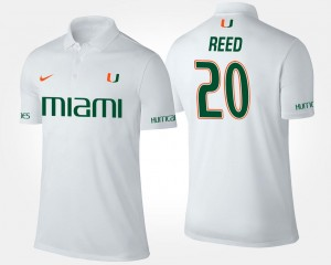 Name and Number Ed Reed Miami Polo White #20 Men's