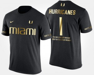 Men's Miami T-Shirt Black #1 Gold Limited No.1 Short Sleeve With Message