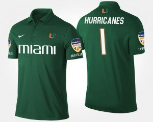 No.1 Orange Bowl Name and Number Bowl Game Green #1 Miami Polo For Men's