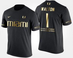 Mark Walton University of Miami T-Shirt Short Sleeve With Message Gold Limited Men's Black #1