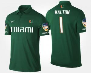 Green For Men Orange Bowl Name and Number #1 Bowl Game Mark Walton Hurricanes Polo