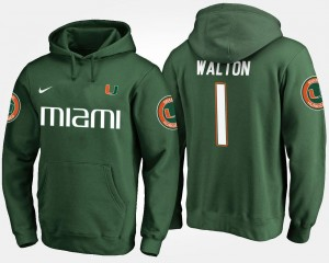 #1 Green Mark Walton University of Miami Hoodie For Men Name and Number