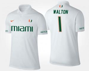 White Mark Walton University of Miami Polo #1 Name and Number For Men