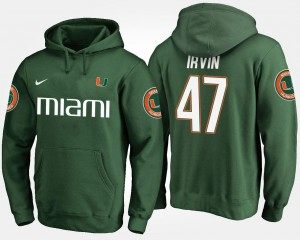 #47 Michael Irvin Miami Hurricanes Hoodie Green Men Name and Number