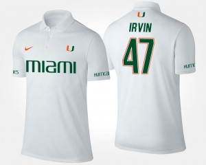 White Name and Number For Men #47 Michael Irvin Hurricanes Polo
