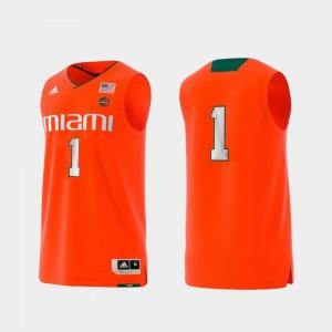 Miami Jersey #1 Men College Adidas Replica Basketball Swingman Orange