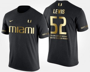 Ray Lewis Miami Hurricanes T-Shirt Gold Limited Short Sleeve With Message Black #52 Mens