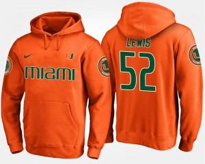 #52 Name and Number Orange Ray Lewis Hurricanes Hoodie Mens