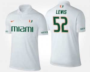 White Ray Lewis Hurricanes Polo For Men #52 Name and Number