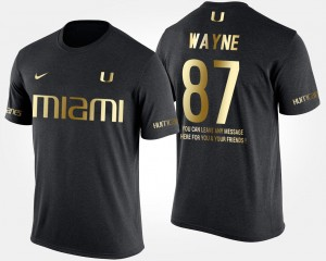 Black #87 Reggie Wayne Miami T-Shirt Gold Limited Short Sleeve With Message Mens