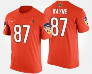 Men Bowl Game Bowl Orange #87 Reggie Wayne University of Miami T-Shirt