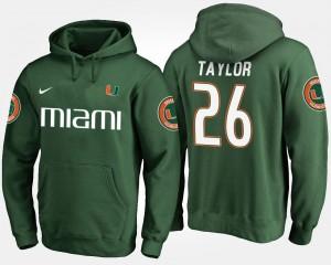 Mens Name and Number #26 Sean Taylor Miami Hoodie Green