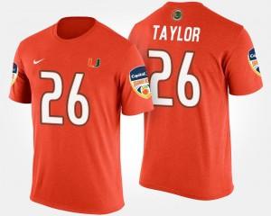 #26 Bowl Bowl Game Sean Taylor Hurricanes T-Shirt Orange For Men