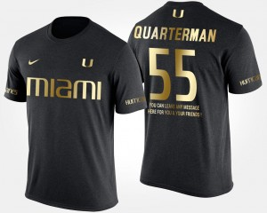 Short Sleeve With Message #55 Gold Limited Black For Men's Shaquille Quarterman University of Miami T-Shirt