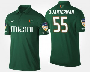 For Men's #55 Orange Bowl Name and Number Bowl Game Green Shaquille Quarterman University of Miami Polo