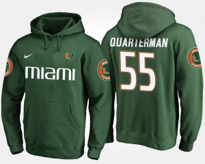Name and Number For Men's Green #55 Shaquille Quarterman Miami Hoodie
