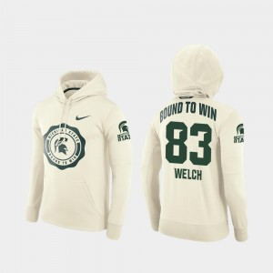 Cream #83 Rival Therma College Football Pullover Andre Welch Michigan State Spartans Hoodie For Men's