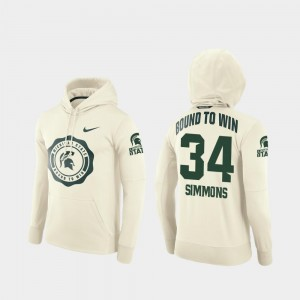 Antjuan Simmons Michigan State Spartans Hoodie For Men #34 Rival Therma Cream College Football Pullover