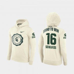 Brandon Sowards MSU Hoodie Cream For Men's College Football Pullover Rival Therma #16