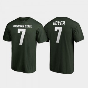 Mens Brian Hoyer Michigan State T-Shirt #7 Green Name & Number College Legends