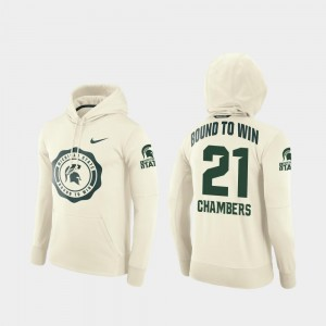College Football Pullover Cream #21 Men's Cam Chambers MSU Hoodie Rival Therma