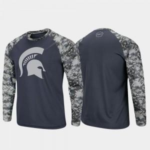 OHT Military Appreciation Men's Charcoal Camo Raglan Long Sleeve Digi Camo Michigan State T-Shirt