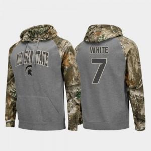 Men Cody White MSU Hoodie Realtree Camo #7 College Football Raglan Charcoal