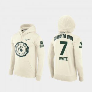 College Football Pullover For Men #7 Cody White MSU Hoodie Cream Rival Therma