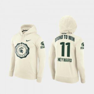 Cream Connor Heyward Michigan State University Hoodie College Football Pullover #11 Rival Therma Mens