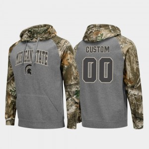 Michigan State Spartans Customized Hoodie Mens Charcoal Realtree Camo College Football Raglan #00