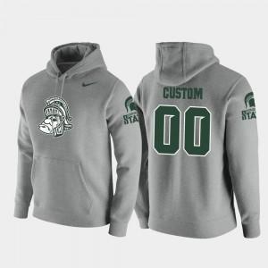 Mens Nike Pullover Michigan State Spartans Custom Hoodie Heathered Gray Vault Logo Club #00