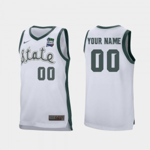 Michigan State Spartans Custom Jerseys White #00 Retro Performance Men 2019 Final-Four