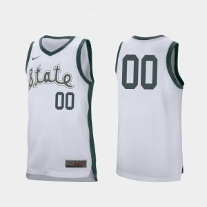 White Retro Performance Michigan State University Custom Jersey #00 College Basketball Men's